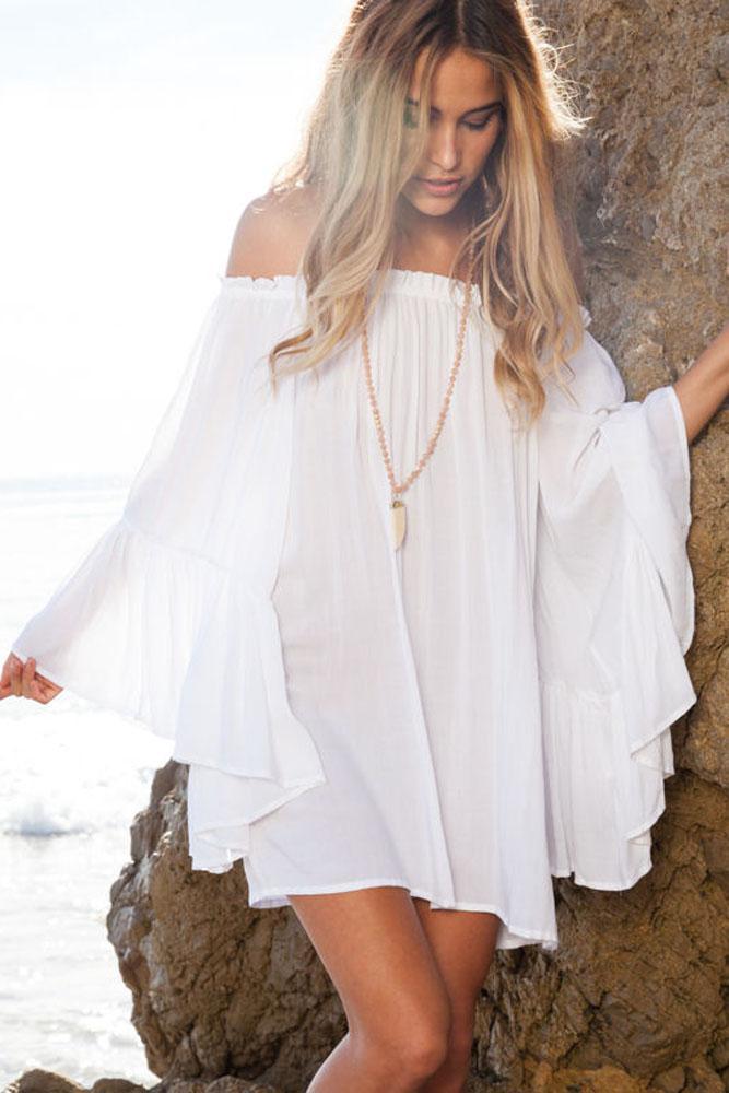 Белые шифоновые платья